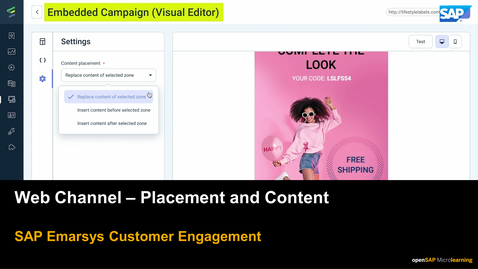 Thumbnail for entry Web Channel: Placement and Content  - SAP Emarsys Customer Engagement