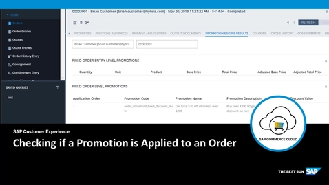 Thumbnail for entry Checking If a Promotion is Applied to an Order -  SAP Commerce Cloud