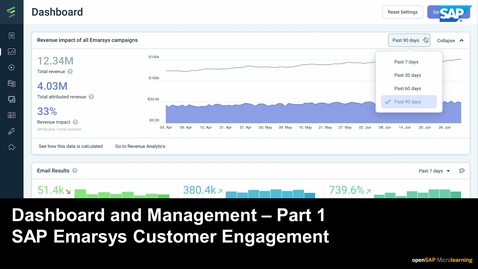 Thumbnail for entry Dashboard and Management - Part 1 - SAP Emarsys Customer Engagement
