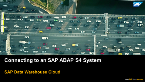 Thumbnail for entry Connecting to an SAP ABAP S4 System - SAP Data Warehouse Cloud