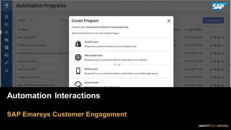 Thumbnail for entry Automation Interactions - SAP Emarsys Customer Engagement