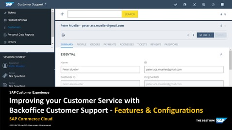 Thumbnail for entry Improving your Customer Service with Backoffice Customer Support - SAP Commerce Cloud