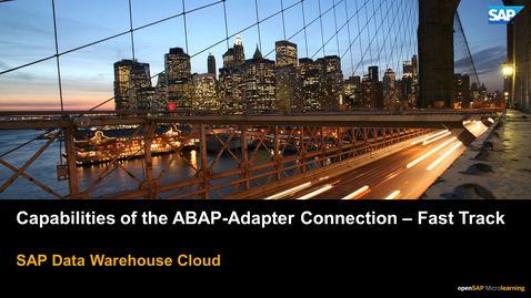 Thumbnail for entry ABAP Adapter Capabilities - Fast Track - SAP Data Warehouse Cloud
