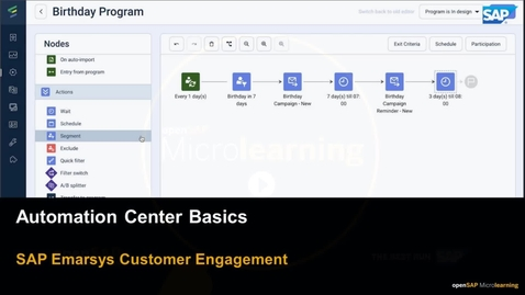Thumbnail for entry Automation Center Basics - SAP Emarsys Customer Engagement