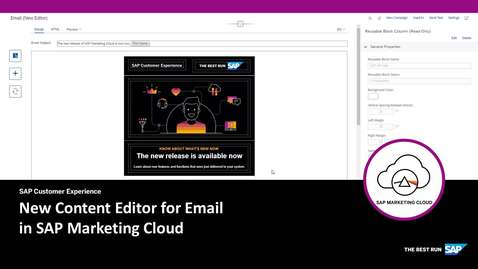 Thumbnail for entry Preview of new Content Editor for Email in SAP Marketing Cloud