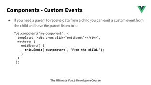 Emitting a custom event from check-filter - The Ultimate Vue JS 2
