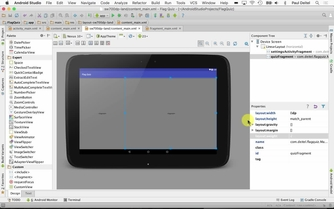 Content Main Xml Layout For Tablet Landscape Orientation Selecting A Fragment To Preview In The Layout Editor S Design View Android 6 App Development Fundamentals I And Ii Video