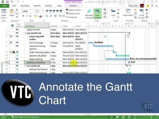 Annotate The Gantt Chart Microsoft Project 2013 Video