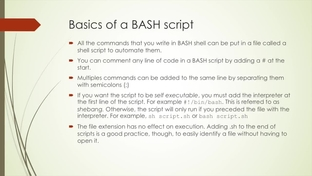Basics of BASH Script - Fundamentals of Unix and Linux System