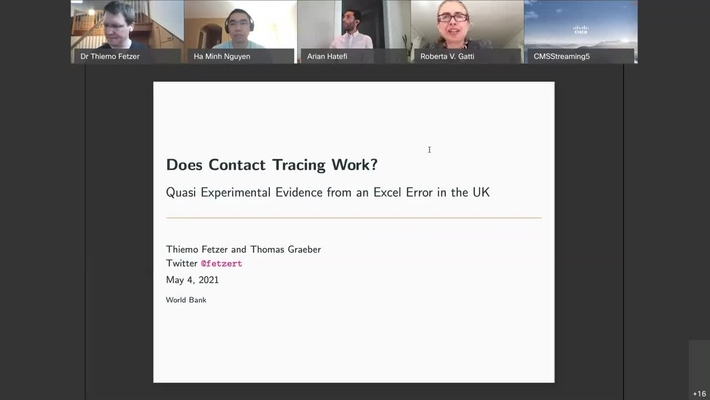 MNACE Seminar Series, Does Contact Tracing Work Quasi-Experimental Evidence from an Excel Error in England-Thiemo Fetzer-May 6, 2021