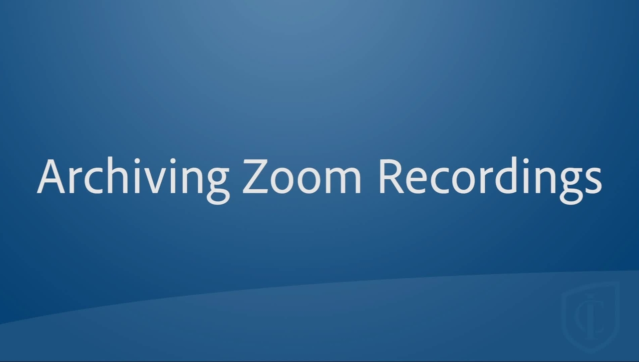 Archiving Zoom Recordings