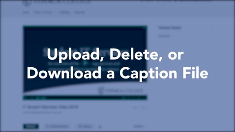 Thumbnail for entry Upload, Delete, or Download a Caption File
