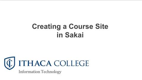 Creating a Single Course Site in Sakai