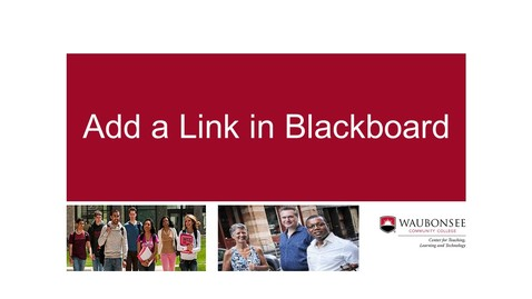Thumbnail for entry How to add a link in Blackboard