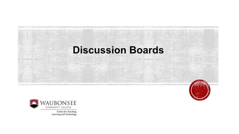 Blackboard: Discussion Board Introduction