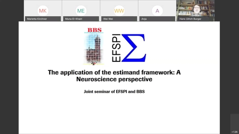 "Thumbnail for entry Joint EFSPI / BBS Seminar: ""The application of estimands from a Neuroscience perspective""-20201103 1202-1_202243567"