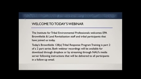 Thumbnail for entry Brownfields128(a) Tribal Response Program Training Part 2 of 2