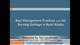 Thumbnail for entry Best Management Practices for Burning Waste in Rural Alaska