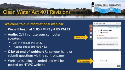 Thumbnail for entry NTWC Webinar: Clean Water Act 401 Revisions Policy Response Kit