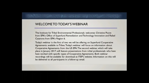 Thumbnail for entry Part 3 of 3: Webinar Q & A - Superfund Cooperative Agreements: A Federal Perspective