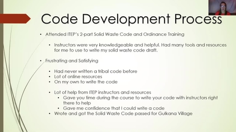 Thumbnail for entry 6 - Writing a Tribal Solid Waste Code - An Alaska IGAP Staff Perspective