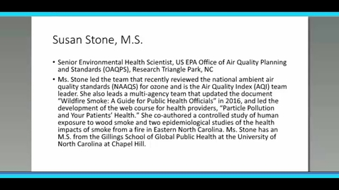 Thumbnail for entry Reducing the Public Health Impacts of Smoke – Susan Stone