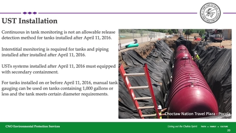 Thumbnail for entry Class A and Class B Underground Storage Tank Operator Training