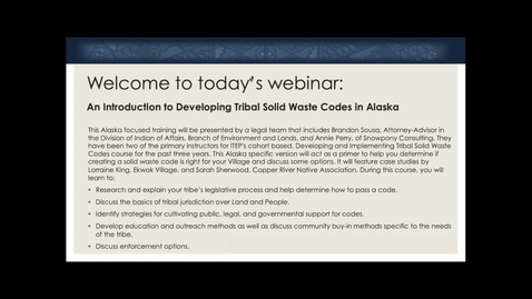 Thumbnail for entry 1 - Developing Tribal SW Codes in Alaska - Training Introduction
