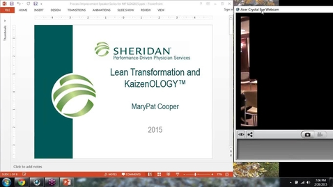 Thumbnail for entry ASQ Nova Student Branch 2015 02 26: Marypat Cooper, Sheridan Healthcare - Lean Transformation and KaizenOLOGY