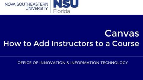 How to Add Instructors to a Course