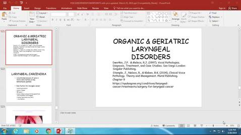 Thumbnail for entry Lecture #11: Organic VD: Laryngeal Carcinoma and Laryngectomy Mar 28, 2019