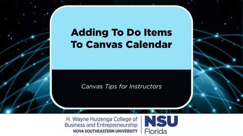Thumbnail for entry Creating Canvas Calendar To-Do Items