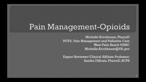 Pain Management - Opioids Pre-recording