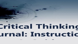 Thumbnail for entry Critical Thinking Journal: Instructions