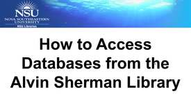 Thumbnail for entry How to Access Library Databases from the Alvin Sherman Library Homepage
