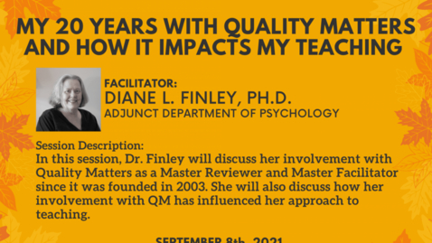 Thumbnail for entry My 20 Years With Quality Matters and How it Impacts My Teaching