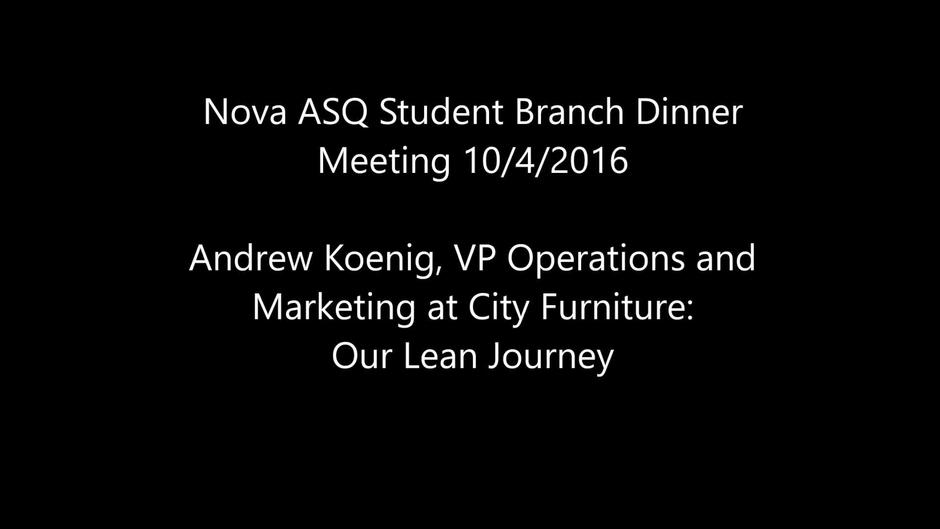Video Thumbnail For ASQ Nova Student Branch 2016 10 04: Andrew Koenig, City  Furniture