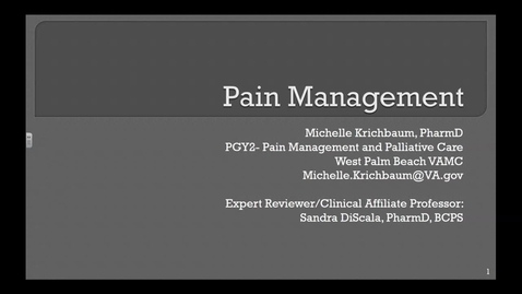 Pain Management Pre-recording