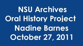 Thumbnail for entry Oral History Interview with Dr. Nadine Barnes - Alumnus; teacher at the Baudhuin Oral School
