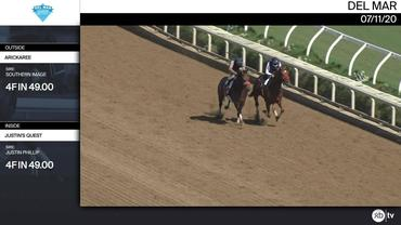 Arickaree (Outside) and Justin's Quest Worked 4 Furlongs in 49.00 at Del Mar on July 11th, 2020