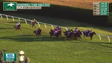 Bowies Hero Finds His Best Stride Late to Beat Diamond Oops in the Shadwell Turf Mile at Keeneland on October 5th, 2019