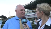 Millie Ball Interviews Trainer Blaine Wright after Winning the San Francisco Mile at Golden Gate Fields With Alert Bay