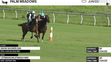 Snow Shower (Outside) and Letmeknowletmego Worked 5 Furlongs in 1:04.00 at Palm Meadows on June 22nd, 2021