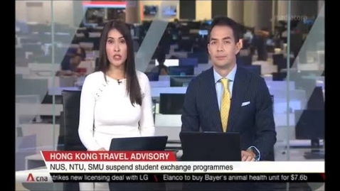 Thumbnail for entry Hong Kong Travel Advisory - NUS, NTU, SMU suspend student exchange programmes, CNA (Singapore Tonight, 10pm), Aug 20