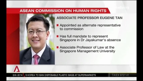 Thumbnail for entry Asean Commission on human rights -New Singapore representatives appointed, Channel NewsAsia (Singapore Tonight, 10pm), 1 Jan 2019