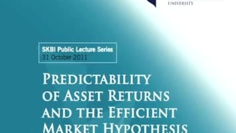 Thumbnail for entry Predictability of Asset Returns and the Efficient Market Hypothesis (Part 2)