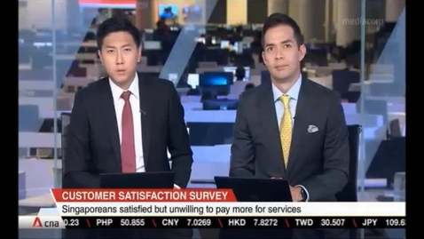 Thumbnail for entry Customer Satisfaction Survey -Singaporeans satisfied but unwilling to pay more for services, CNA (Singapore Tonight, 10pm), Nov 29