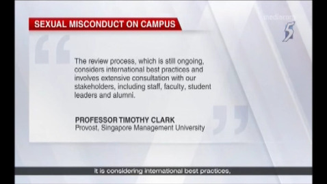 Thumbnail for entry Universities to revise sexual misconduct disciplinary frameworks by August, Channel 5 (News 5 Tonight, 9pm), Jun 11