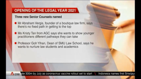Thumbnail for entry Opening Of The Legal Year 2021 -Three new Senior Counsels named; joins 88 others in elite group, CNA (Singapore Tonight, 10pm), Jan 11