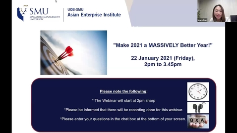 "Thumbnail for entry SME Development Series_Webinar on 22 January 2021 | ""Make 2021 a MASSIVELY Better Year!"""